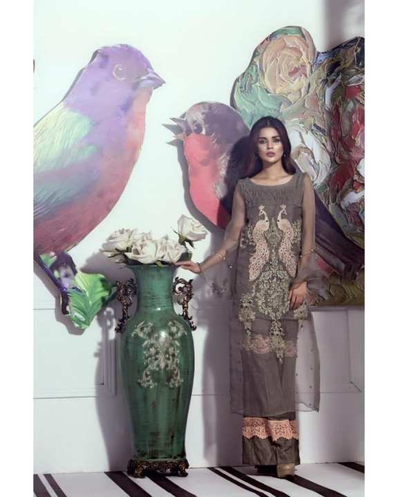 Grey Peacock Embroidered Pure Organza Shirt Embellished With Trouser for Women