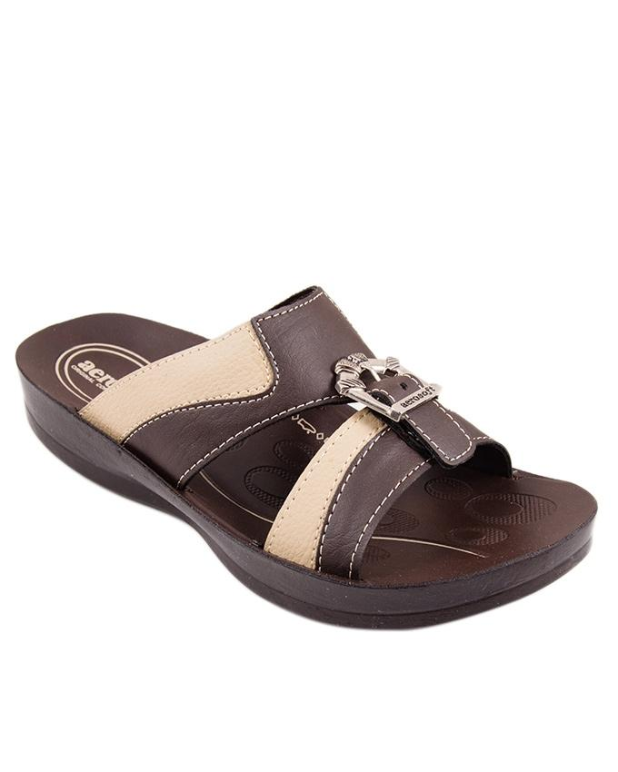 Brown Synthetic Leather Sandals For Men - P4301-BROWN