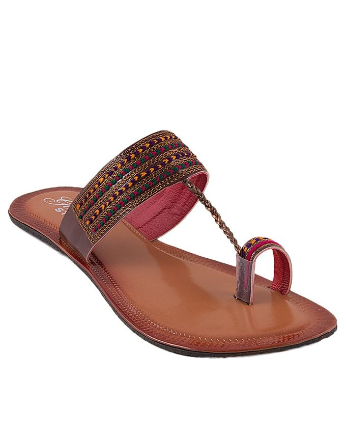 Brown Leather Toe Loops for Women - US3