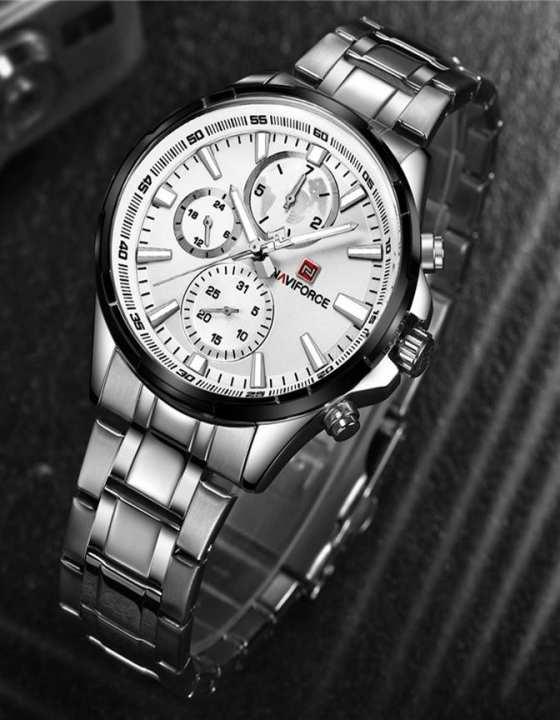 Nf9089 Quartz Watch For Men – Silver, Black & White