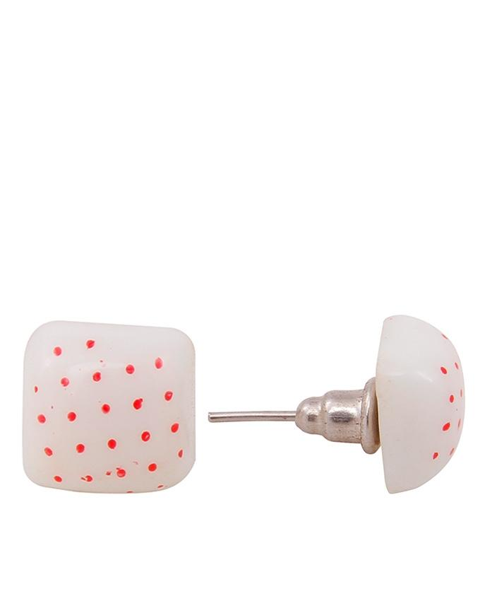 White & Red Doted Earrings for Woman - AC-006
