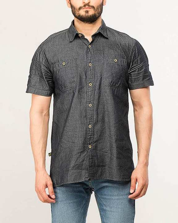 Black Cotton Woven Shirt for Men Special Online Price