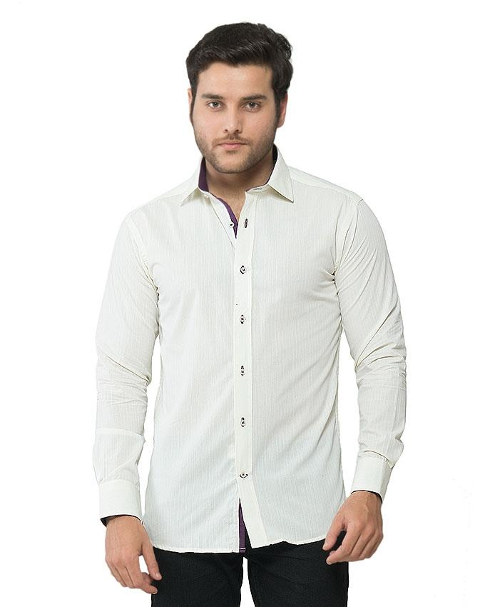 ACLIPSE - Light Lemon Self Striped Shirt Cotton for Men - FS16033A