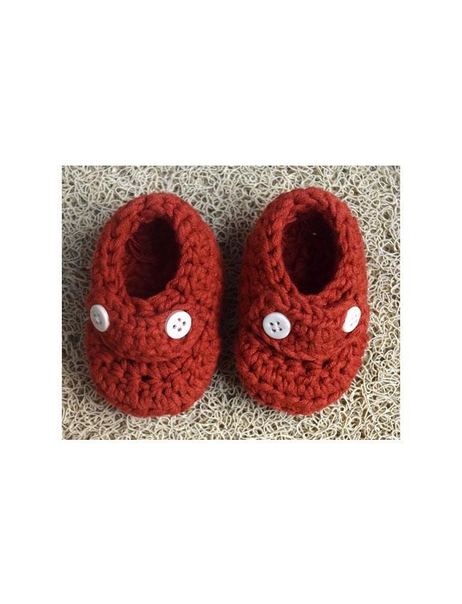 Handmade Crochet Maroon Booties-