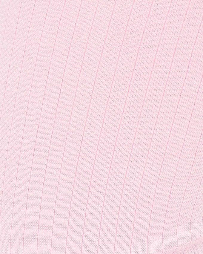 Pink Rib Lycra Cotton Tights