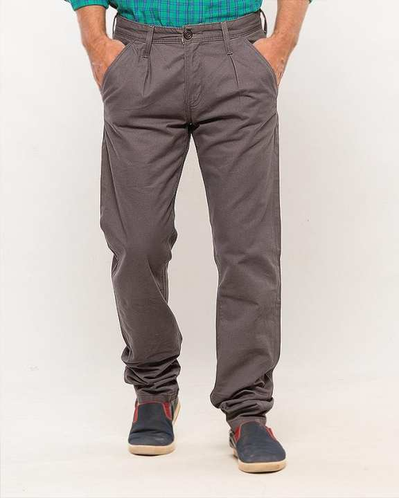 Grey Cotton Chinos for Men