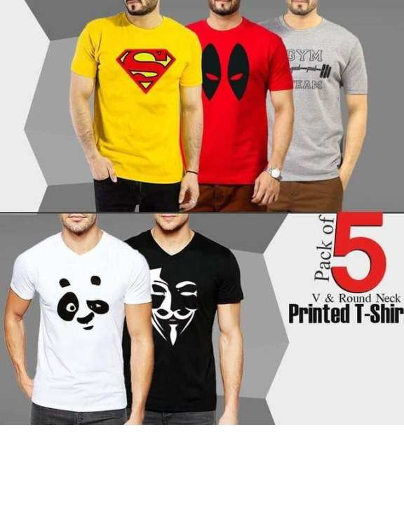 Pack Of 5 V & Round Neck Printed T-Shirts
