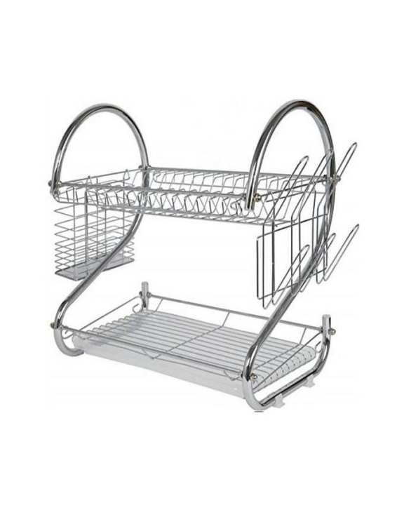 2 Layer Dish Drainer Stainless Steel Plate Rack