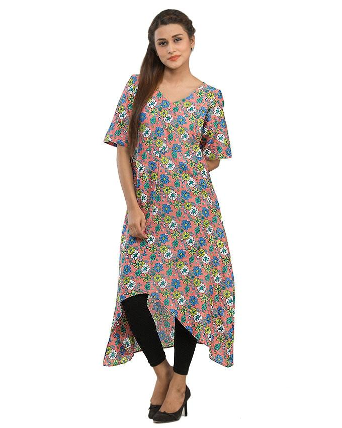 Peach Cotton Basic Kurta with Front Button for Wom
