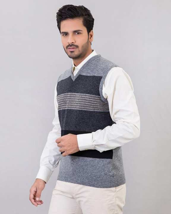St-Gray Lambs Wool Sweater For Men