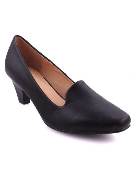 "Black Women ""SINA"" Closed Toe Kitten Heel Courts L30028"