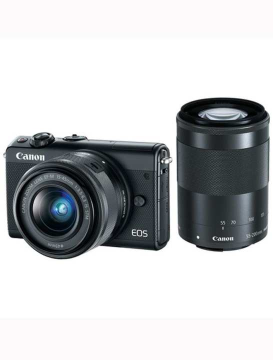 Eos M100 Mirrorless Digital Camera With 15-45Mm And 55-200Mm Lenses (Black)