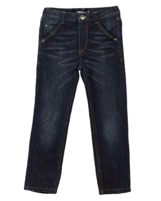 Dark Blue Denim Jeans with Whiskers for Boys -