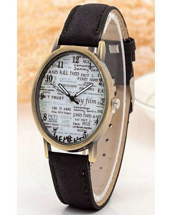 Watch Black Leather Watch For Girls & Boys