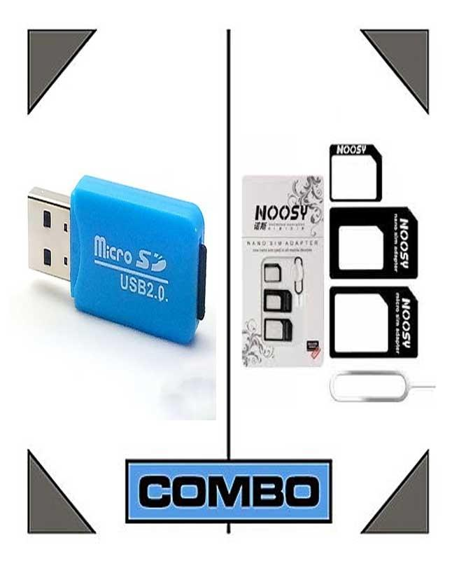 Memory Card Reader And Noosy Sim Adapter With Ejector Pin - White