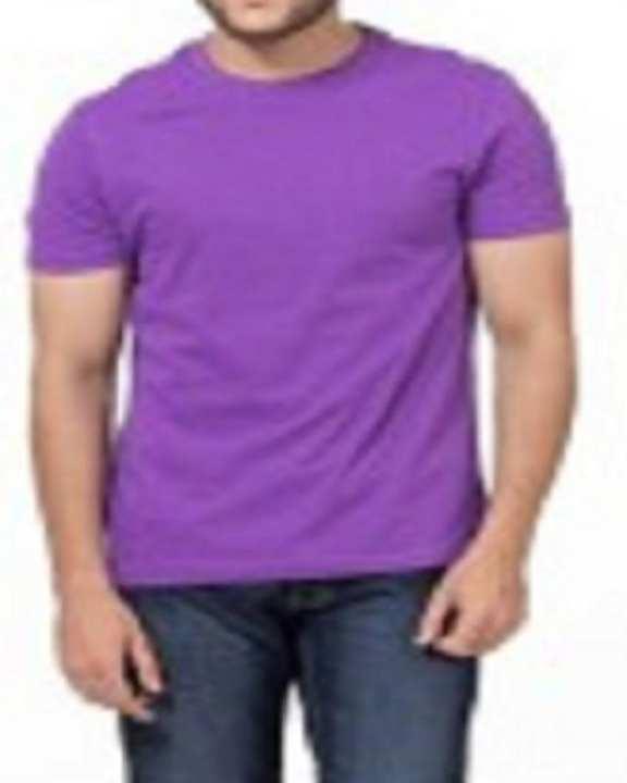 Purple Round Neck Cotton T-Shirt For Men