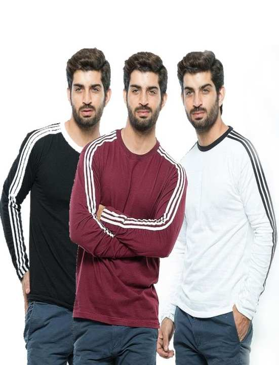 Pack of 3 - Multicolor Cotton T-Shirts For Men