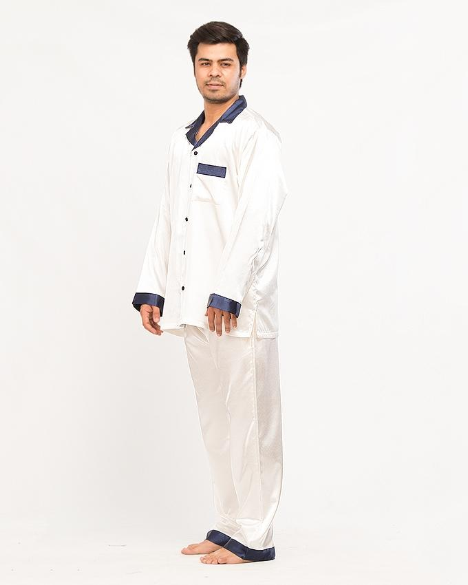 SOLID SILK MEN'S CONTRAST TRIMS PAJAMA SET - PJ CNT-07