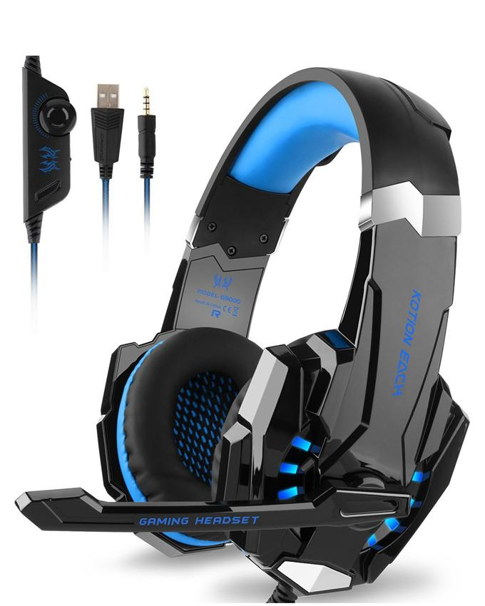 G9000 - Gaming Headset With Mic For PC,PS4,Xbox One Over-Ear Headphones -  Black And Blue