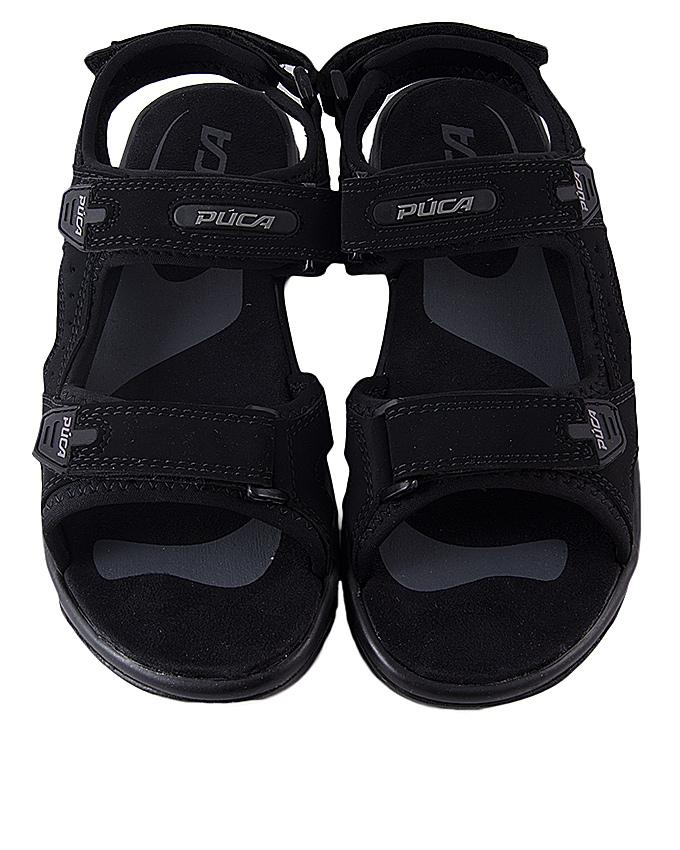 Black PU Spark 10 Sandal for Men