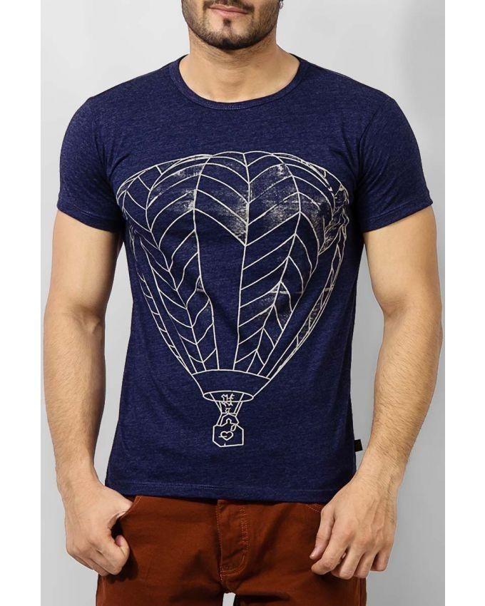 Melange Blue Cotton Balloons T-shirt For Men - 7869-47