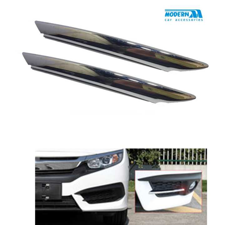 Honda Civic Front Fog Lamps Chrome Trim - Model 2016-2018