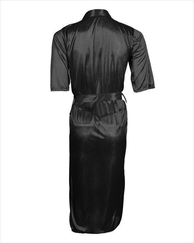 Black Satin Night Gown for Women - Ubb073