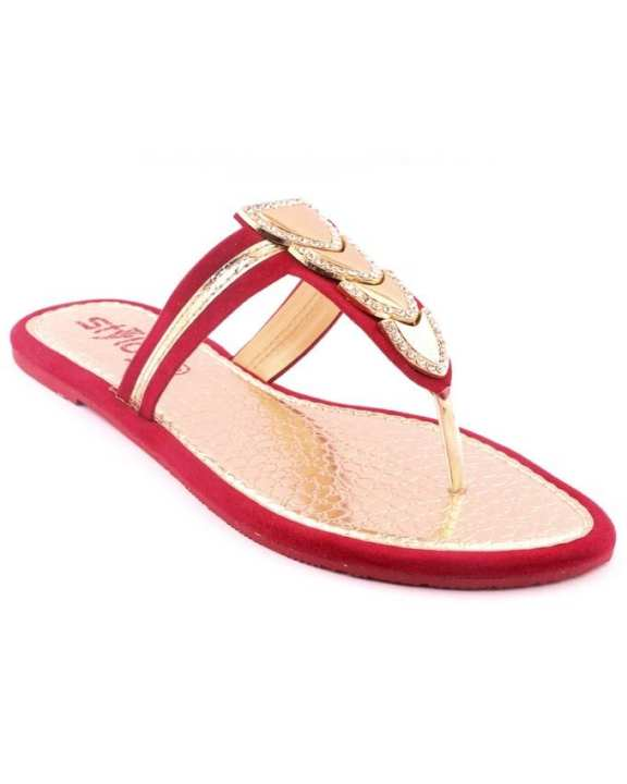 Maroon Synthetic Casual Chappal for Women
