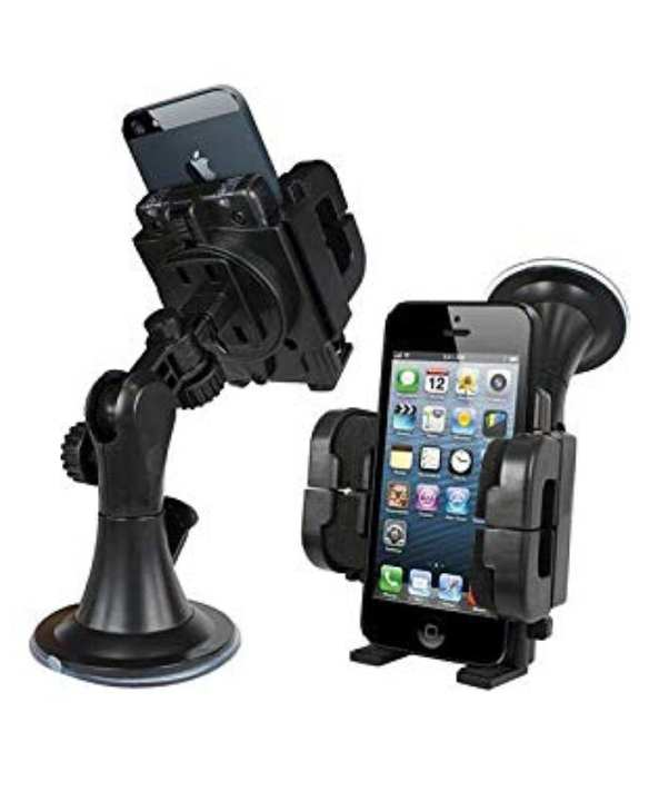 Car Mobile Holder - 360 Rotatable Car Windshield And Dashboard Phone Holder For Car - Black