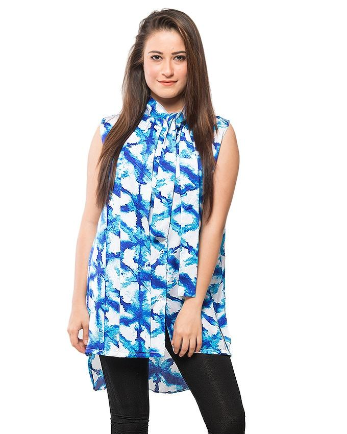 Blue Painted Satin Top With Bow Collar for Women