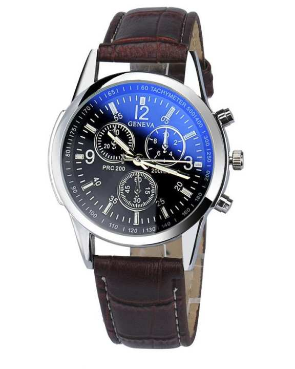 KOY Blue Ray Faux Leather Mens Analog QuartZ Watch
