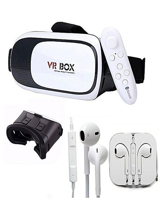 e0fb3c55cb Virtual Reality VR Box 3D Glasses , Bluetooth joystick, Stereo Hands free  (Pack of