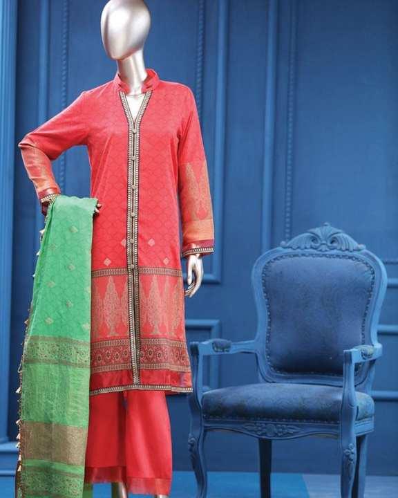 Multicolor Jacquard Unstitched Suit for Women - 3Pc