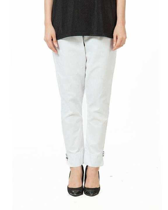 White Cotton Cigarette Pants For Women