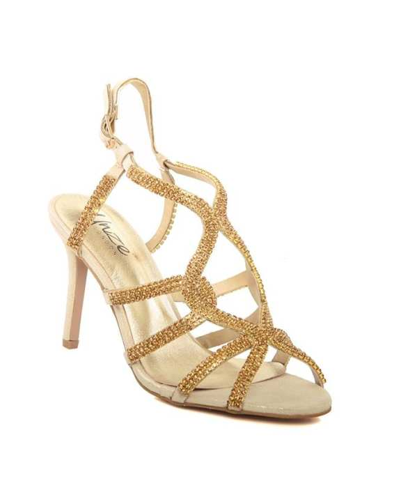 Gold Women 'Belaa' Crystals Encrusted Evening Sandals L28777