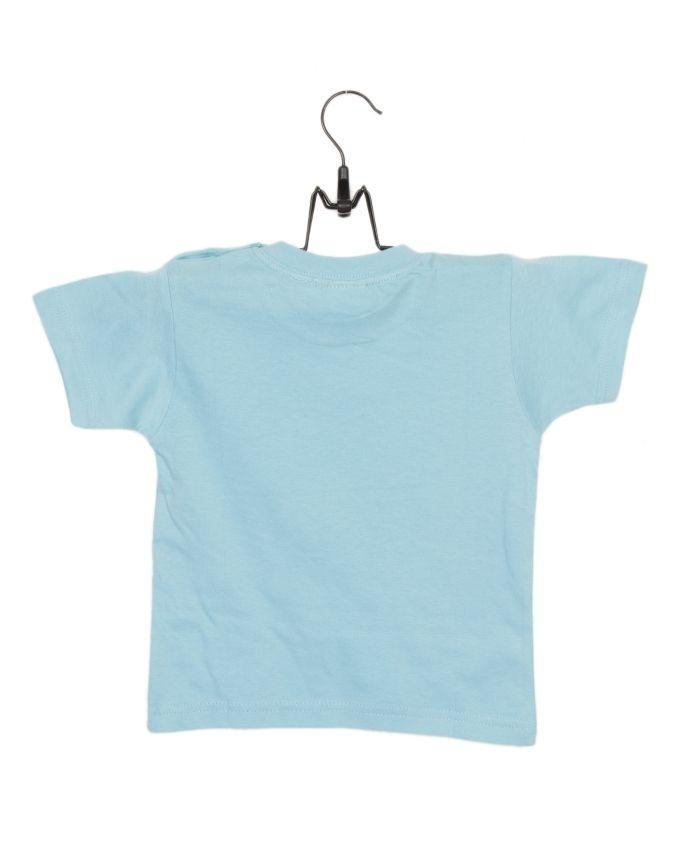Sky Blue Cotton Jersey T-Shirt with Printed Front for Both