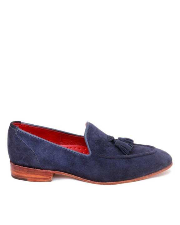 Blue Suede with tassel loafer