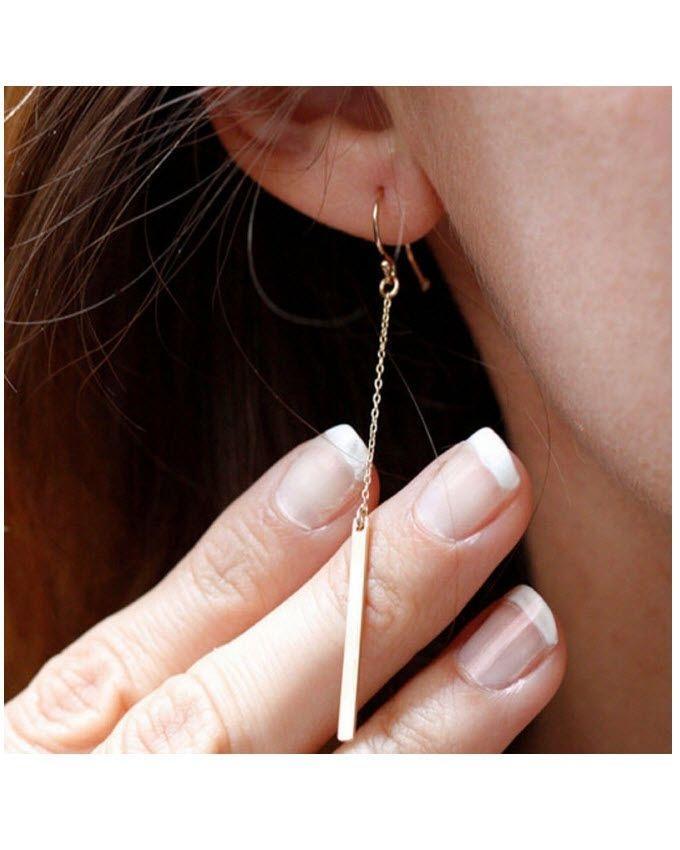 Metal Bar Ear Drop Earrings