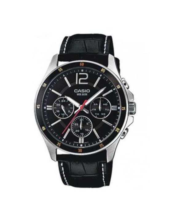 Black Leather Watch for Men - MTP-1374L-1AVDF
