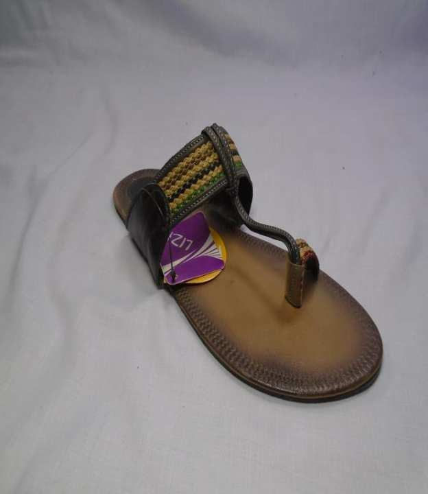 Brown Color Leather Cola Puri Slipper For Women-340-50121