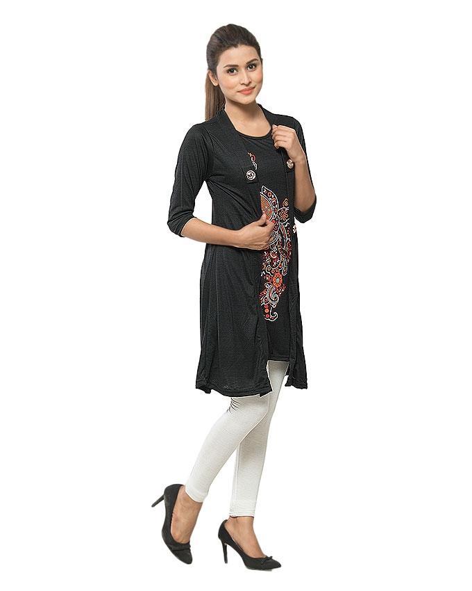 Black Viscose Shrug Style Top for Women - GOL-BST-013