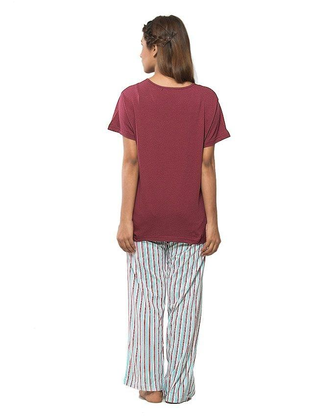 Maroon Jersey Cotton Printed Night Suit For Women - 0988