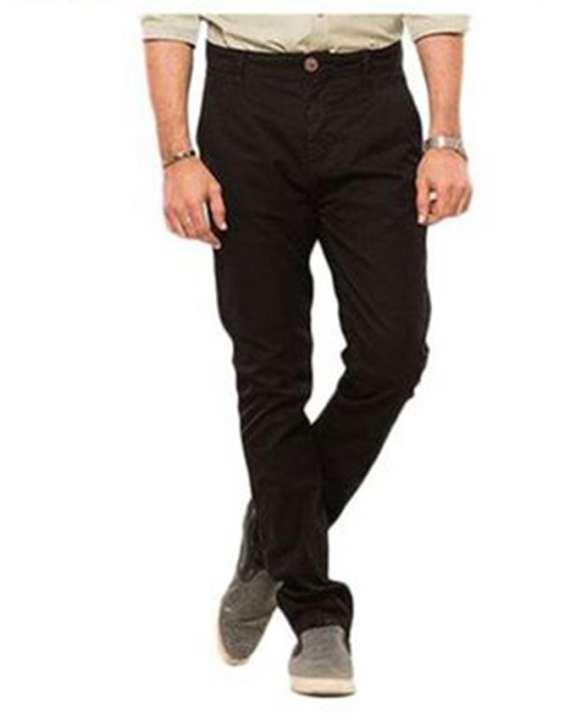 Black-Cotton Men'S Chino-Slim Fit