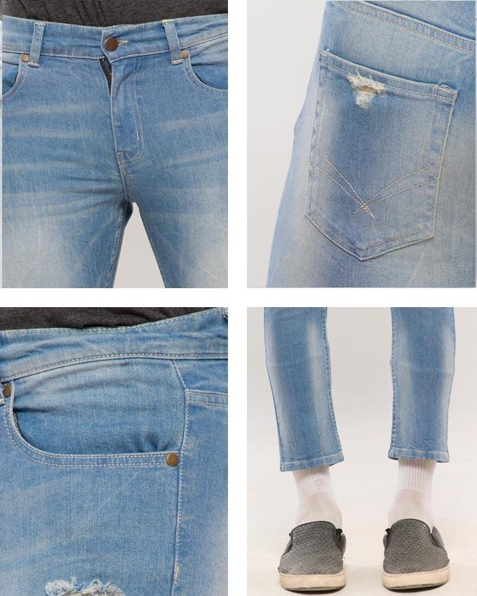 Medium Blue Lightly Distressed Cropped Slim Fit Jeans for Men