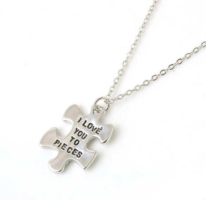 Silver Zinc Alloy I Love You to Pieces Necklace