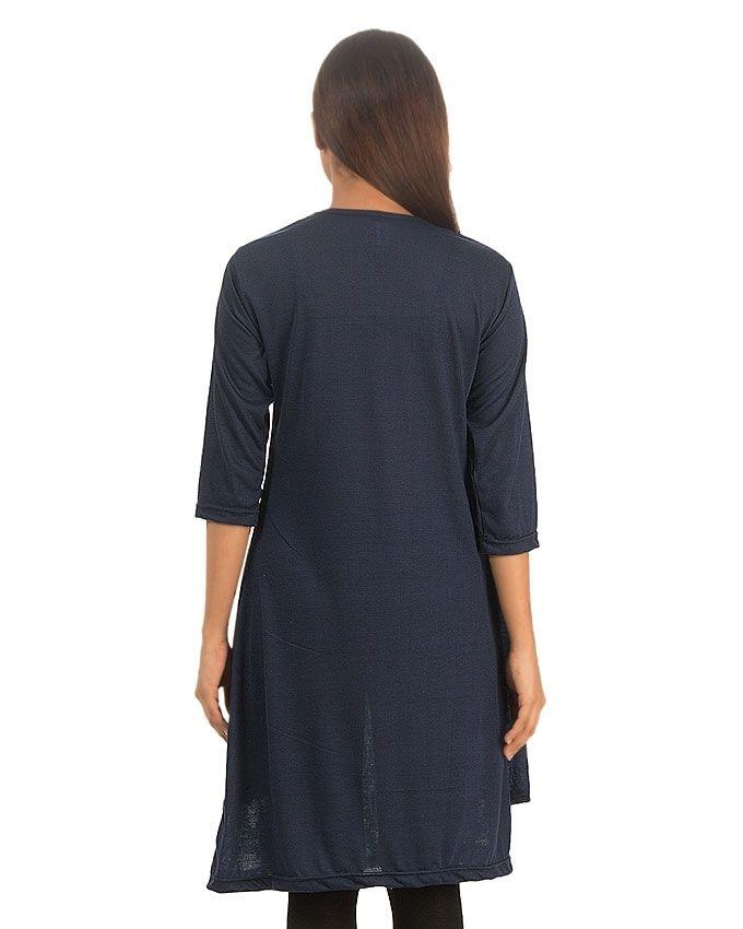 Navy Blue Viscose Printed Top For Women