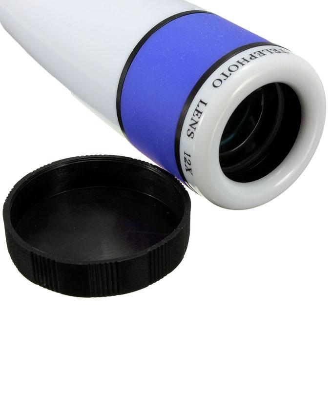 12x Lens Universal Telephoto Camera Lens - White & Blue