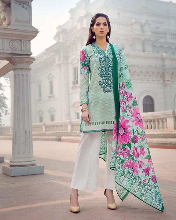 Sea Green 2Pcs Printed (D/S) with Embroidered Front/Lace-Unstitched
