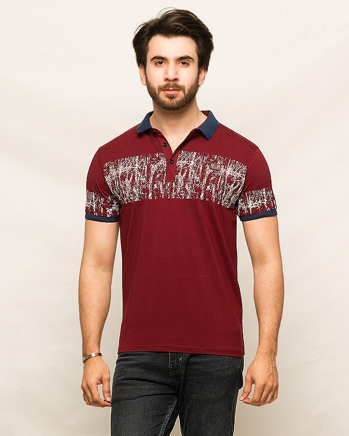 Maroon Cotton T,Shirts For Men