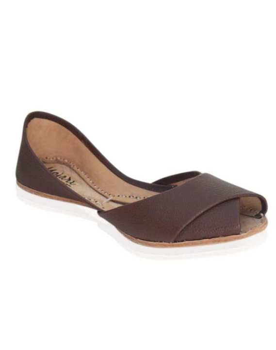 Mojari - Brown Leather Khussa For Women